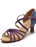 Недорогие -Жен. Обувь для латины Сатин На каблуках Толстая каблук Танцевальная обувь Черный / Лиловый