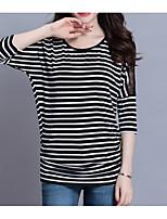 cheap -Women's Basic T-shirt - Striped Lace Trims