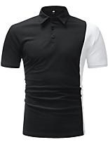 Недорогие -Муж. Polo Рубашечный воротник Контрастных цветов / С короткими рукавами