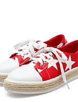 abordables -Mujer Zapatos Cuero de Napa Verano Confort Zapatillas de deporte Tacón Plano Dedo redondo Negro / Amarillo / Rojo