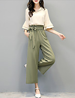 cheap -Women's Sophisticated Flare Sleeve Blouse - Solid Colored, Bow Pant