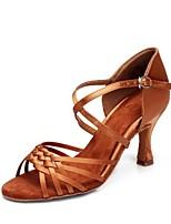 abordables -Mujer Zapatos de Baile Latino Satén Sandalia Slim High Heel Personalizables Zapatos de baile Color Camello