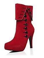 abordables -Femme Chaussures Daim Automne hiver boîtes de Combat Bottes Plateau Bout rond Boucle Noir / Rouge / Soirée & Evénement
