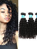 Недорогие -3 Связки Бразильские волосы / Бирманские волосы Kinky Curly Не подвергавшиеся окрашиванию Человека ткет Волосы 8-30 дюймовый Ткет человеческих волос Машинное плетение Лучшее качество / 100