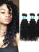 cheap -Brazilian Hair / Burmese Hair Kinky Curly Natural Color Hair Weaves 3 Bundles 8-30 inch Human Hair Weaves Machine Made Best Quality / 100% Virgin Natural Black Human Hair Extensions Women's