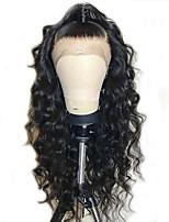 Недорогие -Remy Лента спереди Парик Бразильские волосы Волнистый Парик 130% С детскими волосами / Природные волосы / Парик в афро-американском стиле Нейтральный Жен. Длинные
