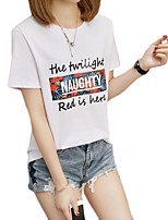 cheap -Women's Basic T-shirt - Solid Colored / Letter