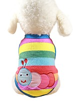 cheap -Dogs / Cats / Furry Small Pets Sweatshirt / Jumpsuit Dog Clothes Animal / Cartoon / Character Light Blue / Rainbow / Stripe 100% Coral Fleece Costume For Pets Female Sports & Outdoors / Casual