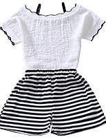 cheap -Kids Girls' Basic Striped Print Short Sleeve Cotton Clothing Set
