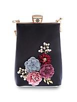 cheap -Women's Bags PU(Polyurethane) Evening Bag Appliques / Crystals Floral Print Black / Blushing Pink / Sky Blue