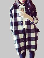 Недорогие -Жен. Рубашка Искусственный мех / Хлопок, Рубашечный воротник Свободный силуэт Шахматка