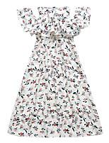 preiswerte -Kinder Mädchen Street Schick Blumen Kurzarm Midi Kleid