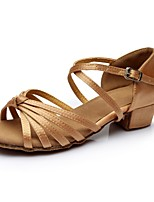 cheap -Women's Latin Shoes Satin Sandal / Heel Splicing Thick Heel Customizable Dance Shoes Nude
