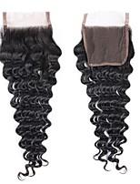 Недорогие -Fulgent  Sun Бразильские волосы / Крупные кудри 4x4 Закрытие Волнистый Бесплатный Часть Швейцарское кружево Натуральные волосы Жен. Лучшее качество / Кружевное закрытие