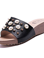 cheap -Women's Shoes PU(Polyurethane) Summer Comfort Slippers & Flip-Flops Wedge Heel Round Toe Rhinestone White / Black