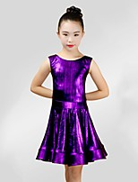 abordables -Danse latine Robes Fille Utilisation Spandex Ruché Sans Manches Robe