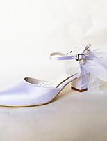 abordables -Mujer Zapatos Satén Primavera verano Confort Zapatos de boda Tacón Cuadrado Dedo Puntiagudo Pedrería / Pluma / Perla Blanco / Boda / Fiesta y Noche