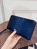 cheap -Men's Bags Cowhide Wallet Zipper Blue