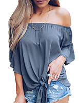 cheap -women's going out blouse - solid colored strapless