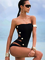 cheap -Women's One Piece Swimsuit Stretchy Polyester / Spandex Sleeveless Swimwear Beach Wear Bodysuit Solid Colored Swimming