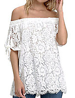 cheap -Women's Street chic Blouse - Solid Colored Lace Trims