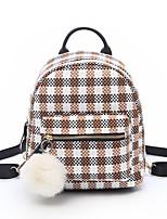 cheap -Women's Bags Cotton School Bag Feathers / Fur / Zipper Black / Red / Khaki