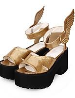 cheap -Lolita Shoes Punk Lolita Dress Punk Wedge Heel Shoes Solid Colored 8 cm CM Golden For PU(Polyurethane)