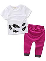 cheap -Baby Girls' Tropical Leaf Print Short Sleeve Clothing Set