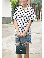 cheap -women's going out cotton loose shirt - polka dot shirt collar