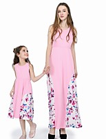 cheap -Kids / Toddler Mommy and Me Floral / Color Block Sleeveless Overall & Jumpsuit