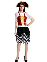 cheap -Pirates of the Caribbean Costume Women's Halloween Carnival Masquerade Festival / Holiday Halloween Costumes Outfits Black Solid Colored Striped Halloween Halloween