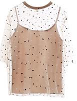 baratos -blusa de trabalho das mulheres - polka dot em volta do pescoço