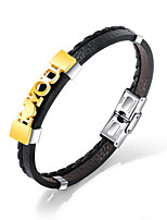 cheap -Men's Link / Chain Bracelet Bangles / Leather Bracelet - Trendy, Casual / Sporty, Fashion Bracelet Gold / Silver For Gift / Daily