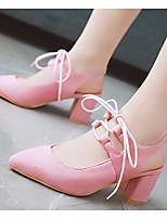 Недорогие -Жен. Обувь Полиуретан Весна Удобная обувь / Туфли лодочки Обувь на каблуках На толстом каблуке Черный / Розовый / Миндальный
