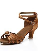 cheap -Women's Latin Shoes Satin Heel Crystal / Rhinestone Cuban Heel Customizable Dance Shoes Brown