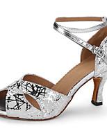 cheap -Women's Latin Shoes Sheepskin Heel Slim High Heel Dance Shoes Silver