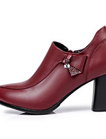 cheap -Women's Shoes Nappa Leather Spring / Fall Comfort / Basic Pump Heels Chunky Heel Black / Burgundy