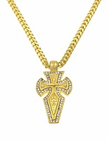 cheap -Men's Cubic Zirconia Stylish / Cuban Link Pendant Necklace / Chain Necklace - Cross, Faith Artistic, European, Hip-Hop Gold 70 cm Necklace 1pc For Street, Club