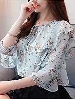 cheap -Women's Vintage / Basic Blouse - Floral / Geometric Ruffle