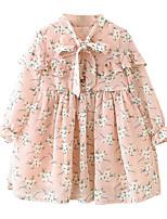 Недорогие -Дети / Дети (1-4 лет) Девочки Цветочный принт Длинный рукав Платье