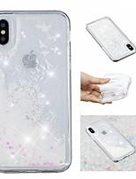 Недорогие -Кейс для Назначение Apple iPhone X / iPhone 8 Plus Движущаяся жидкость / С узором / Сияние и блеск Кейс на заднюю панель Сияние и блеск / одуванчик Мягкий ТПУ для iPhone X / iPhone 8 Pluss / iPhone 8