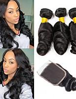 Недорогие -Индийские волосы Свободные волны Подарки / Человека ткет Волосы / Сувениры для чаепития 3 комплекта с закрытием 8-20 дюймовый Ткет человеческих волос 4x4 Закрытие