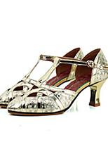 preiswerte -Damen Schuhe für modern Dance Schweineleder Absätze Starke Ferse Tanzschuhe Gold / Silber / Leistung / Praxis
