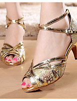 cheap -Women's Latin Shoes Synthetics Heel Thick Heel Dance Shoes Gold