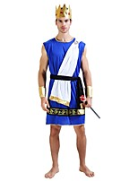 cheap -Egyptian Costume Costume Men's Halloween Carnival Masquerade Festival / Holiday Halloween Costumes Outfits Ink Blue Solid Colored Halloween Halloween