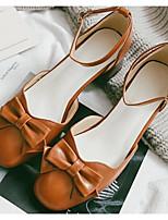 Недорогие -Жен. Обувь Полиуретан Весна / Осень Удобная обувь / Туфли лодочки Обувь на каблуках На толстом каблуке Черный / Бежевый / Желтый