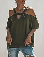 Недорогие -Жен. Блуза Хлопок, V-образный вырез Однотонный