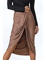 cheap -Latin Dance Bottoms Women's Performance Milk Fiber Ruching Natural Skirts