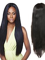 Недорогие -Натуральные волосы Полностью ленточные Парик Малазийские волосы Прямой Парик Ассиметричная стрижка 130% / 150% / 180% Без запаха / Шерсть / Новое поступление Черный Жен. Средняя длина / Мода