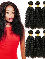 Недорогие -6 Связок Бразильские волосы Kinky Curly Натуральные волосы One Pack Solution / Накладки из натуральных волос 8-28 дюймовый Ткет человеческих волос Удлинитель / Лучшее качество Естественный цвет